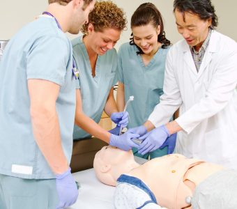 Medical staff being taught intubation